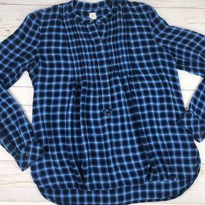 Gap Womens Medium Plaid Shirt Blue Long Sleeve 1/2